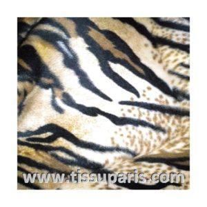 Tissu Fausse Fourrure Tigre Marron Clair FAT07