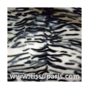 Tissu Fausse Fourrure tigre blanc noir FAT01