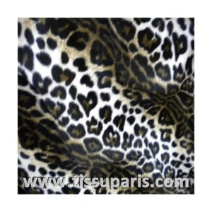 Tissu Fausse Fourrure Léopard blanc noir FAL01