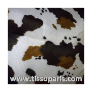 Tissu Fausse Fourrure Vache blanc noir FAV03
