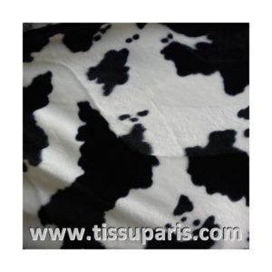 Tissu Fausse Fourrure Vache blanc noir FAV01