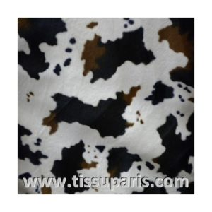 Tissu Fausse Fourrure Vache blance noir marron FAV02