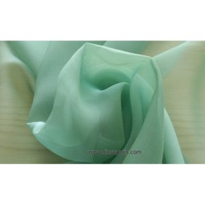 Mousseline Cangiante Soie vert turquoise 221083