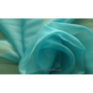Mousseline Cangiante Soie vert turquoise 221143