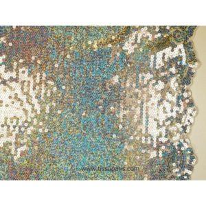 Tissu Pailleté bords arqués argenté 5274-1 125cm