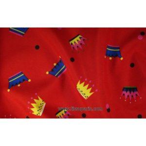 Tissu stretch couronnes rouge 5251-4 150cm