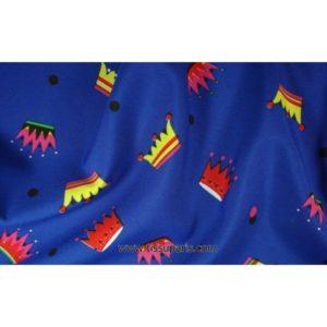 Tissu stretch couronnes bleu 5251-2 150cm