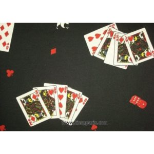 Tissu stretch cartes noir 5254-1 150cm