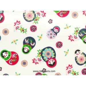 Tissu Poupées Russe blanc 3586-4 140cm