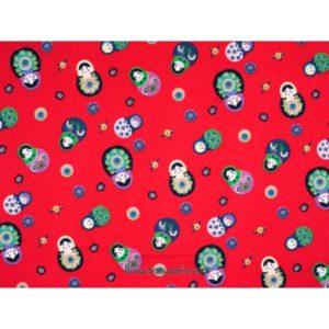 Tissu petite matriochka rouge 3585-3 140cm