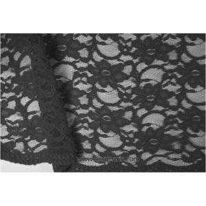 Dentelle fleurs bords arqués noir 900920-2 134cm