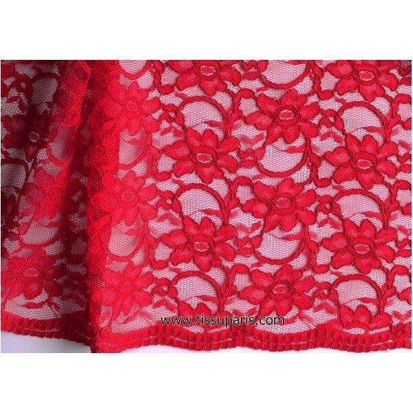 Dentelle fleurs bords arqués rouge 900920-5 134cm