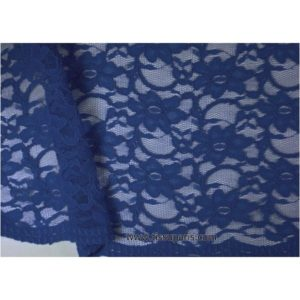 Dentelle fleurs bords arqués bleu marine 900920-7 134cm