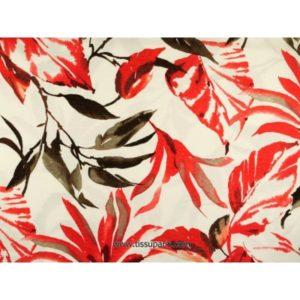 Tissu Jersey viscose fleurs rouge SOPO-1517