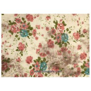 tissu coton fleurs écru-multicolore 145cm 501746-1