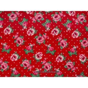 Tissu de coton imprimé fleurs rouge 140cm 3614-1