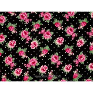 Tissu de coton imprimé fleurs noir140cm 3614-2