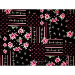 Coton imprimé fleurs noir 140cm 3613-2