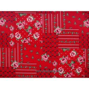 Coton imprimé fleurs rouge 140cm 3613-1