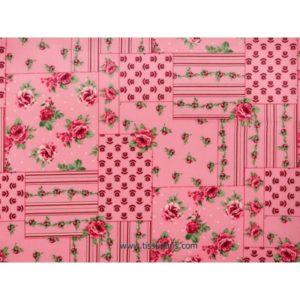 Coton imprimé fleurs rose vif 140cm 3613-3