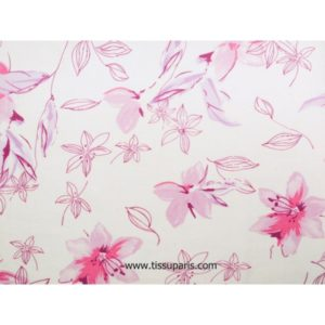 Viscose lin fleurs blanc-rose vif 140cm 501910-2