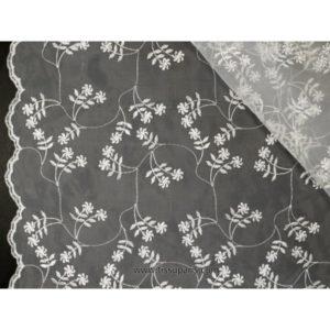Organza brodé de qualité blanc 139cm 501786-1