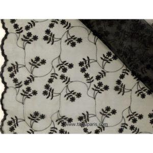 Organza brodé de qualité noir 139cm 501786-9