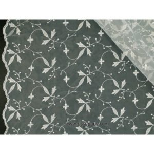 Organza brodé de qualité blanc 137cm
