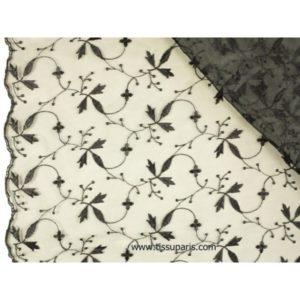 Organza brodé de qualité noir 137cm 501787-9