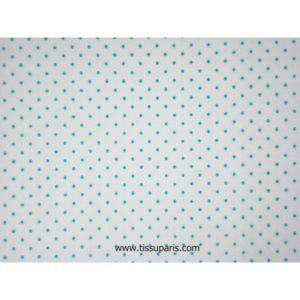 Coton à pois (2mm), blanc-turquoise, 140cm 1829-4