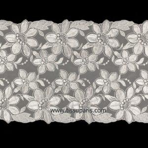 Dentelle broderie florale blanc 200mm NZ-00249