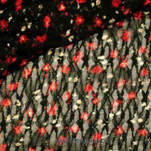 Dentelle avec des fleurs noir-rouge 135cm 901803-2