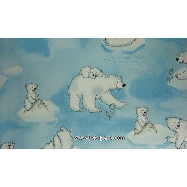 Tissu Polaire Ours Blanc 3538-1 bleu clair