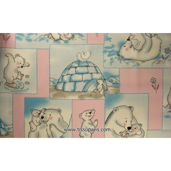 Tissu Polaire Ours Blanc 3539-2 rose