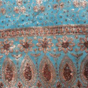 Tissu indien Brodé Rouge